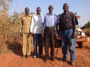 We travelled to Tindilo in November 2015 to request a piece of land for the school from Tindilo Payam and Mundari Bura Boma (Right to left: Pastor Philip, Alex, Jacob and James the payam administrator)