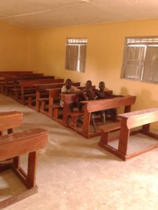 Benches in classroom